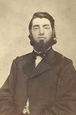 CDV PHOTO HANDSOME DAPPER GENTLEMAN THICK BEARD SLICKED HAIR CIVIL WAR ERA NY