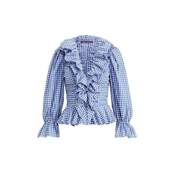 Ralph Lauren Collection Sophie Cotton Gingham Blouse ($1,590) ❤ liked on Polyvore featuring tops, blouses, blue, blue shirt, slim fit shirts, ruffle sleeve shirt, flutter sleeve top and v-neck shirt
