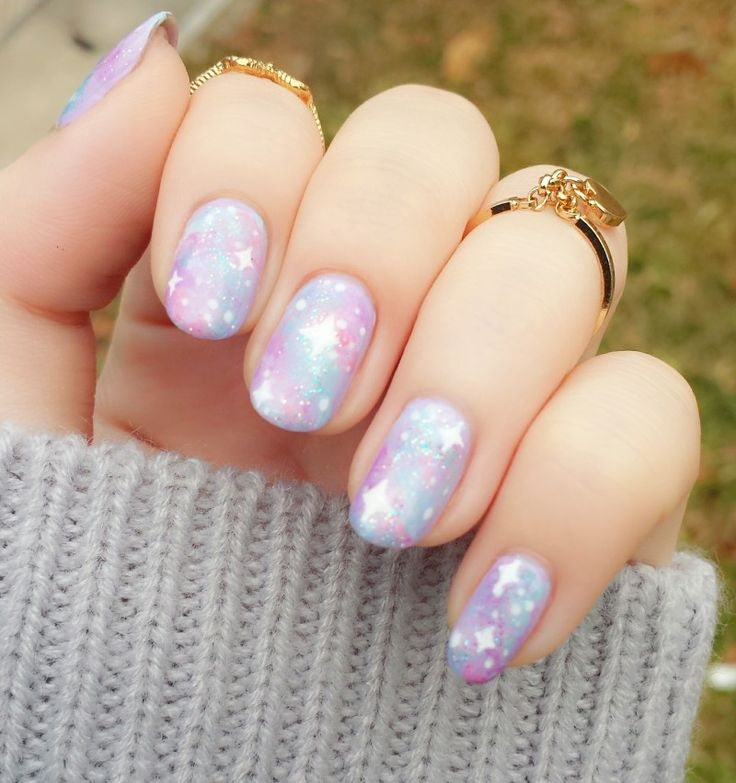 Valentines Day Pastel Galaxy Nails