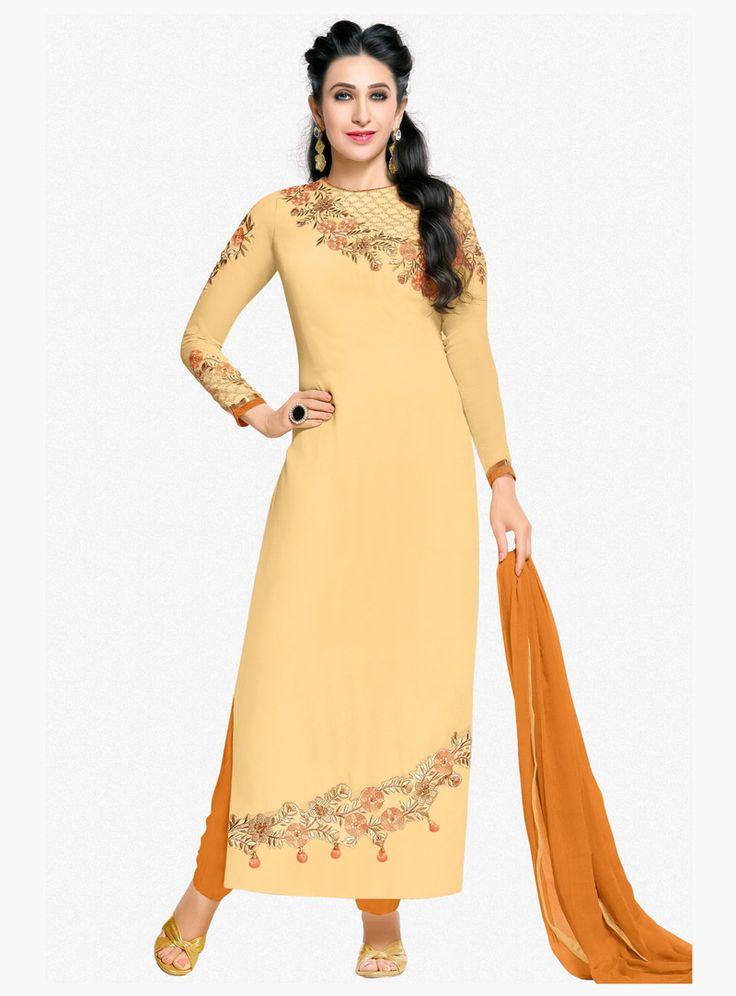 Karisma Kapoor Light Yellow Georgette Straight Cut Suit 87950
