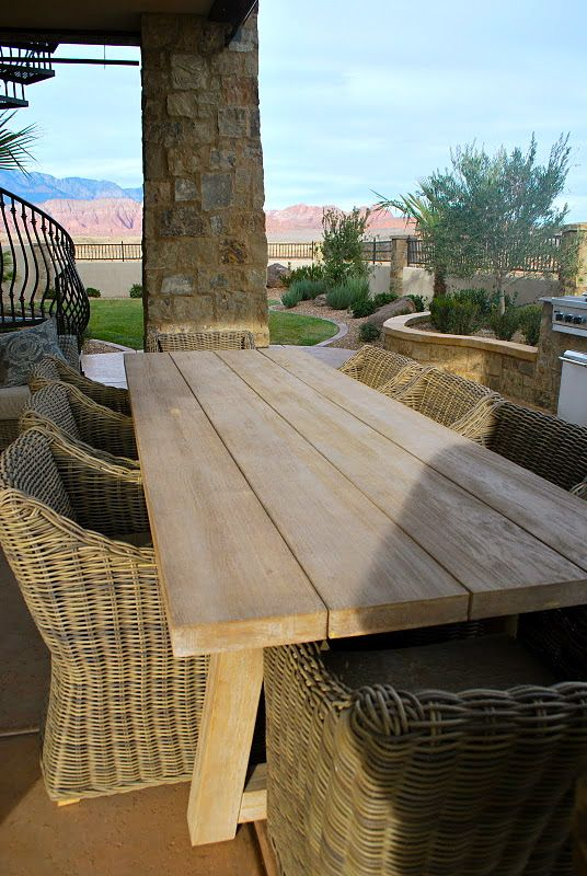 outdoor table + chairs, with lime green cushions and table accents