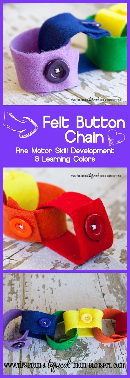// Apprendre à boutonner // Tips from a Typical Mom: DIY Felt Button Chain~ Learning Fine Motor Skills & Colors