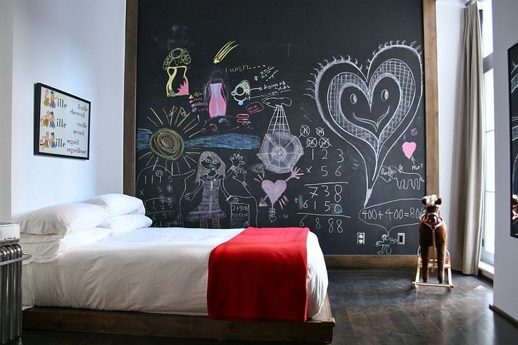 Get some chalkboard paint and paint a feature wall in your child's room, and let them get creative. This is a great way of getting them involved, and can work throughout their ages as well. It is both inexpensive and easy, yet will create a really unique room for them!