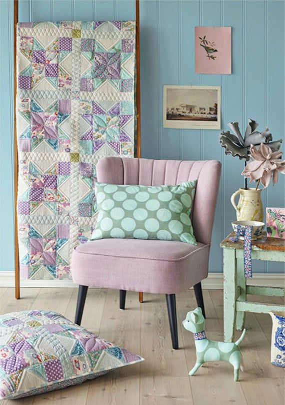 """Tilda Lazy Days FOUR BLOCK Quilt & Pillow Kit in Lilac/Teal   54""""x68""""    26""""x26""""  8 Point Star Quilt Kit   Mother's Day Gift   Pretty quilt, Quilt  blocks, Quilt kit"""