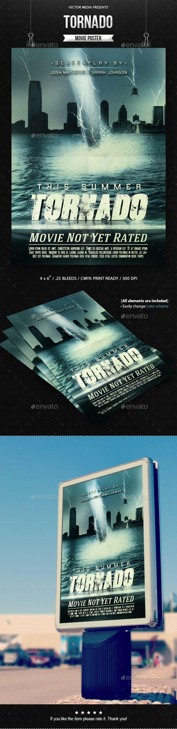 Tornado  Movie Poster — Photoshop PSD #print templates #casting • Available here → https://graphicriver.net/item/tornado-movie-poster/8491098?ref=pxcr