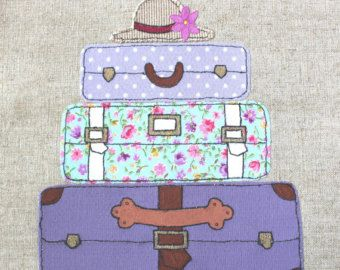 Framed Original Textile, Applique Artwork of Lilac Vintage Suitcases, machine embroidery