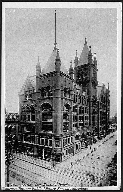 The Confederation Life Building on Richmond Street East in Toronto was built in 1892 by Knox and Elliot. The 7 floor Romanesque Revival architecture office was home to insurer Confederation Life.  A fire almost gutted the building in or around the 1970s, but the structure survived and was restored for new tenants.