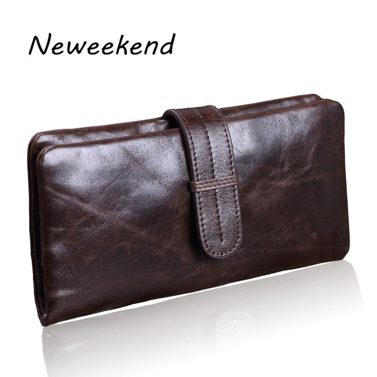 NEWEEKEND LS001 Vintage Genuine Leather Oil Wax Hasp Long Thin Card Zipper Coin Pocket Wallet Purse for Man #Affiliate