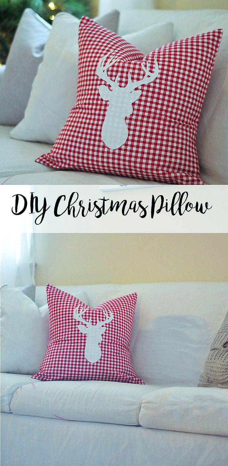This DIY pillow cover turned out better than we had imagined and was so simple and inexpensive! Hope you love it!!! #pillow #diy #pillowcover #reindeerpillow #christmaspillow #christmasdecor #holidaydecor