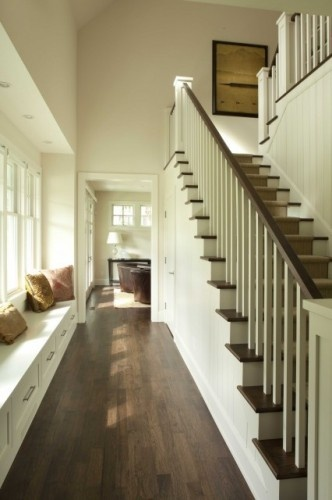 rail: Ideas, Stairs, Hallways, Floors, Stairca Design, Traditional Staircases, House, Charlie Simmons, Window Seats