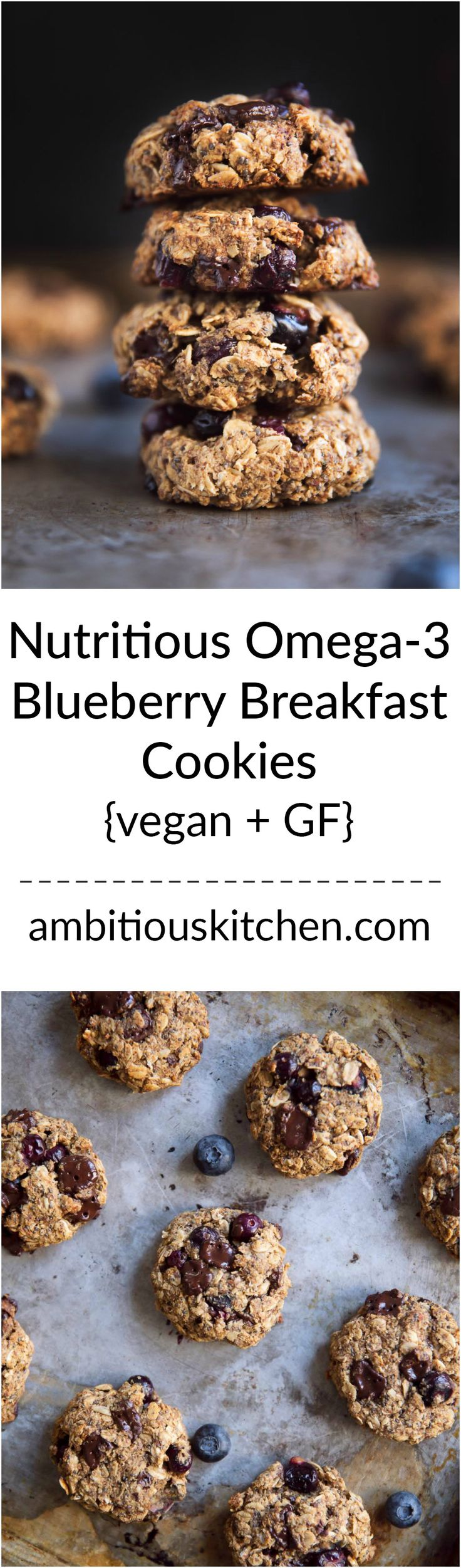 One bowl, easy to make, nutritious vegan & gluten free blueberry breakfast cookies are the best way to start your day! They taste exactly like a blueberry muffin! Packed with chia, flax, oats, walnuts & more!