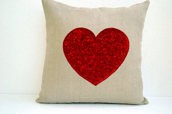 Off-White Burlap heart pillow with passionate red by AmoreBeaute