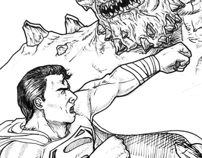 """Check out new work on my @Behance portfolio: """"Superman/Doomsday by Liger"""" http://be.net/gallery/36393051/SupermanDoomsday-by-Liger"""