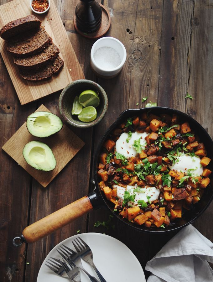 Sweet Potato Skillet Hash (Ingredients: coconut oil, cumin, coriander, chili flakes, sweet potato, onion, cilantro, eggs)