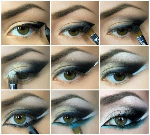 black white blue winged makeup tutorial