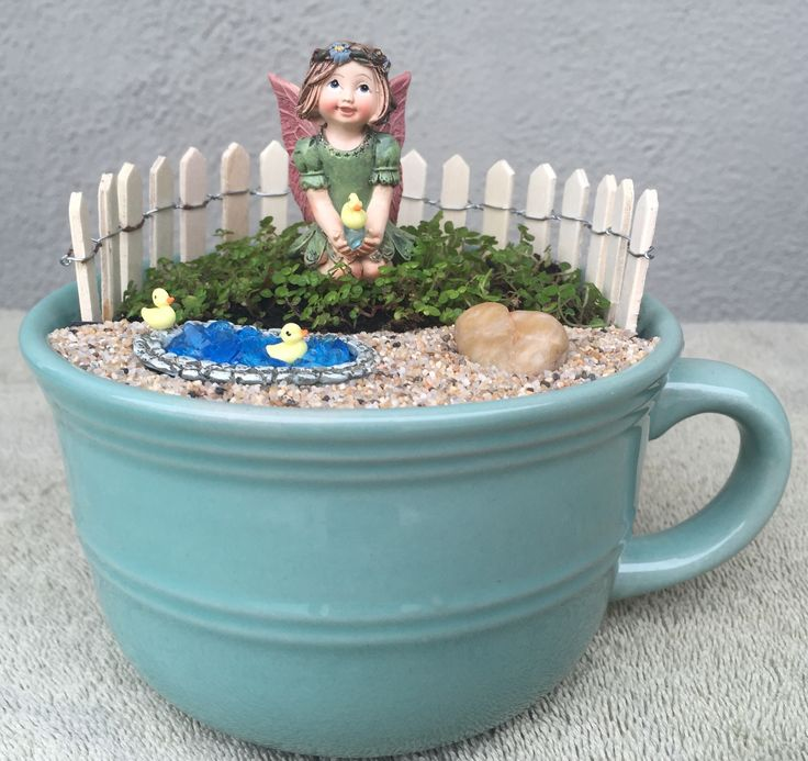 Miniature Fairy Garden - TEA CUP. TAKING TURNS is what these tiny ...
