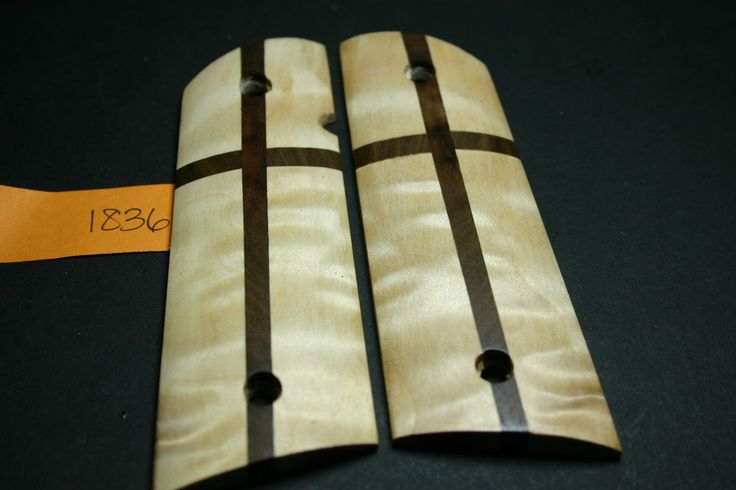 Primative CROSS Quilted MAPLE 1911 Wood Grips 45 1991 Full Size mag 7-8 gun GOV