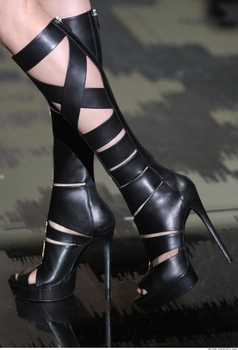 Gucci open toe boots