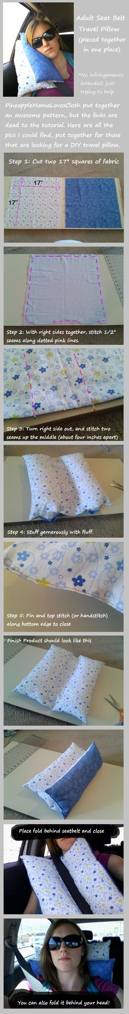 DIY Adult Seat Belt Travel Pillow Tutorial (by Pineapple Mama)
