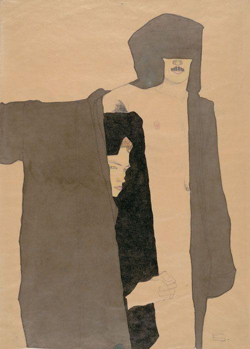Egon Schiele: Favorite Artists, Illustrations Couple, Ink Figures Drawings, Art Inspiration, E Schiele, Schieler Egon, Couple 1909, Art Pieces, Egon Schiele