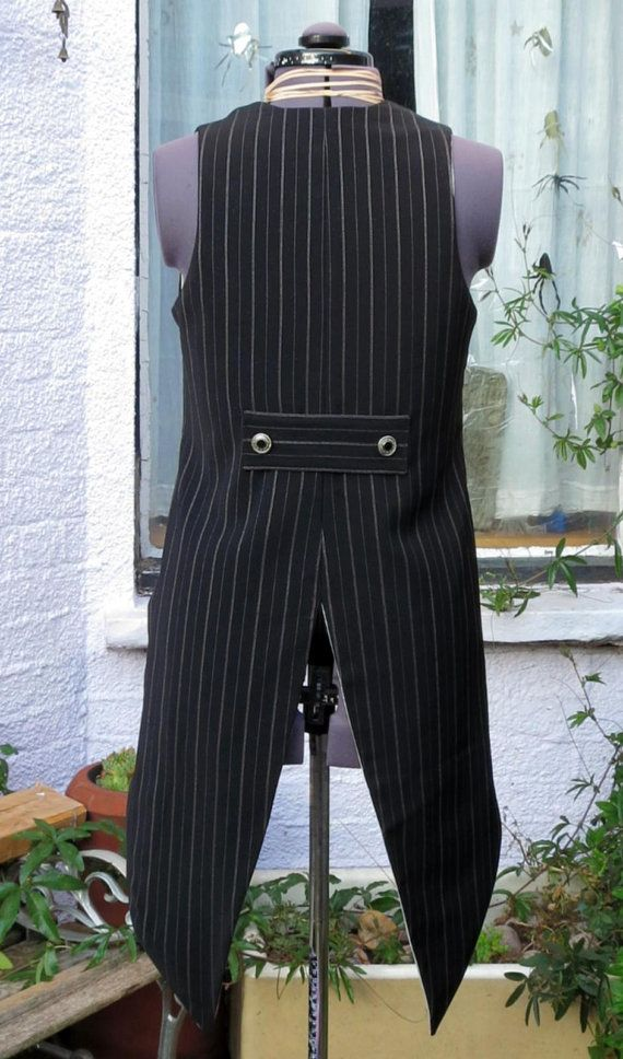 goth tail waistcoat tailcoat in black and white pinstripe