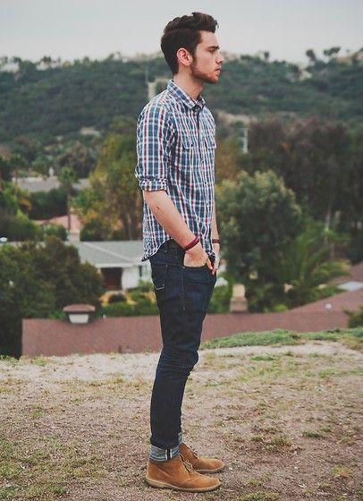 Do it now (by Edward Honaker) http://lookbook.nu/look/3784811-do-it-now simple Look plaid shirt jeans denim fashion men tumblr streetstyle desert boots
