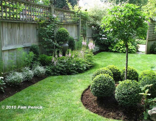 Landscaped Backyard - manicured shrubs and mulched beds framed by a tall privacy fence - Landscaping Style, via Puddy's House