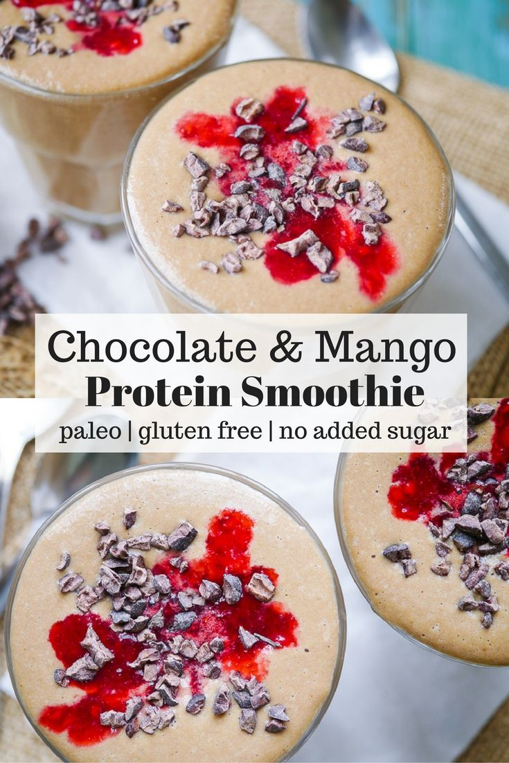 Chocolate Mango Protein Smoothie - This paleo chocolate mango protein smoothie recipe is nourishing, healthy and delicious. The perfect quick breakfast or snack. Refined sugar free! Recipe via nourisheveryday.com