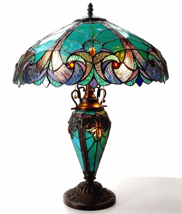 Tiffany Style Table Lamp With Night Light Vintage Stained Glass Teal Bedroom  #ChloeLighting #StainedGlass