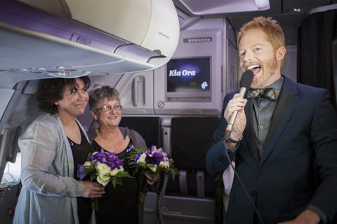 Modern Family star joins first-day gay wedding at 30,000 feet