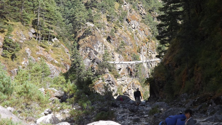 A bridge on the way to Mt Everest Base Camp. One of several, I have never been so terrified in all of my life!