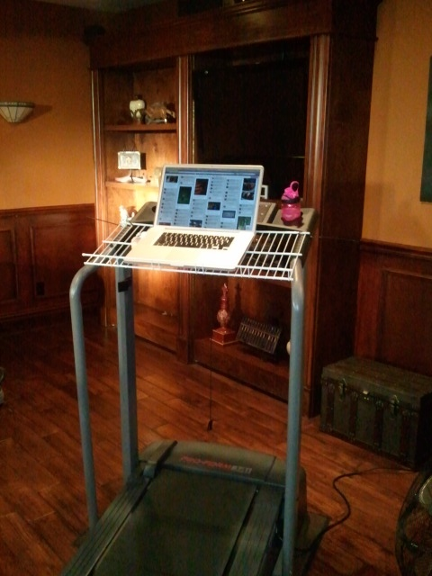 MY LATEST INVENTION...THE TREAD TOP  Found a cheap treadmill on craigslist, added a wire shelf - upside down - (attach with with zip ties). Perfect for facebooking, surfing the net, pinteresting, while walking at a steady (or even fast) pace! An hour goes by in no time!!