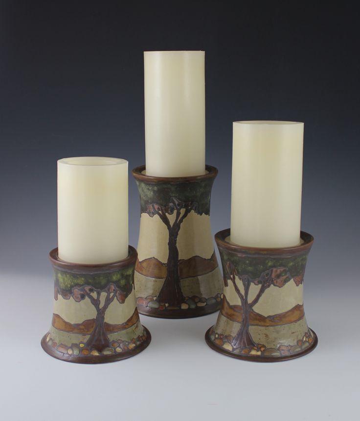 Pillar Candle Holders - Sassafrass Pottery - Arts & Crafts - Craftsman - Bungalow
