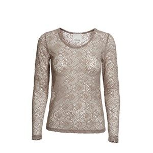 ANASTASIA full lace, mushroom. Shirt in full lace. Cool to wear under a jacket, so the lace is to be seen.  Coloured by the eco-tex 100 standards.