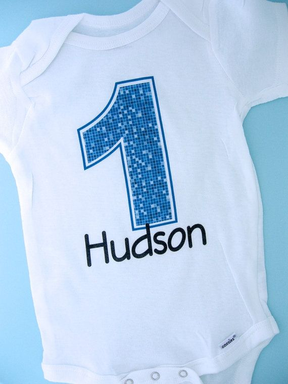1st Birthday Onesie Blue Number 1 First Shirt Personalized Boys Baby Outfit Gift Clothing 03212012az In 2019