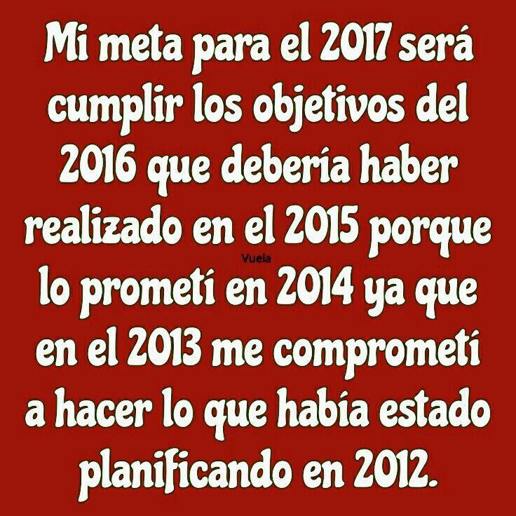Mi meta para el 2017 será cumplir los objetivos del 2016 que debería haber realizado en el 2015 porque lo prometí en 2014 ya que en el 2013 me comprometí a hacer lo que había estado planificando en 2012.
