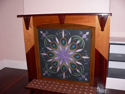 Hand painted mandala open fireplace cover acrylic on - Ideas to cover fireplace opening ...