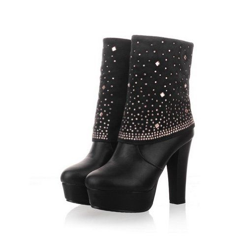 QueenFashion Women's Imitated Dermis PU Velvet Lining High Chunky Heels  Solid Ankle Boots with Rhinestones