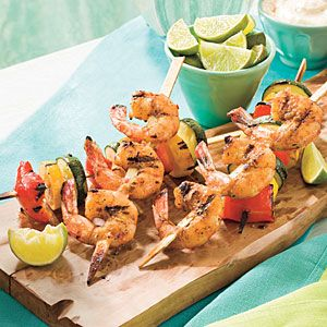 Spicy Glazed Shrimp and Vegetable Kabobs