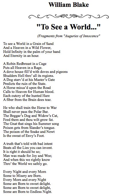William Blake - To See a World...