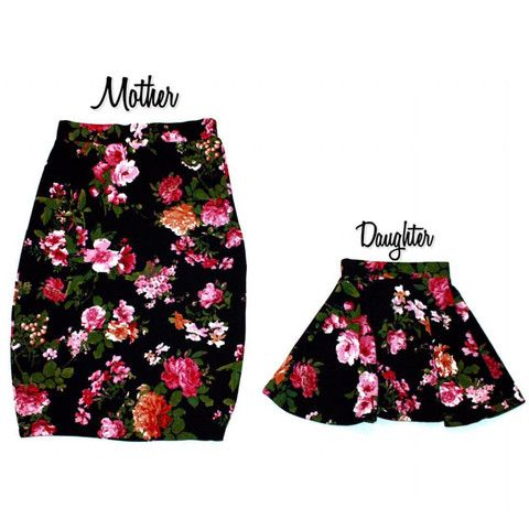 Vintage Style Mommy & Me High Waist Floral Print Skirts!