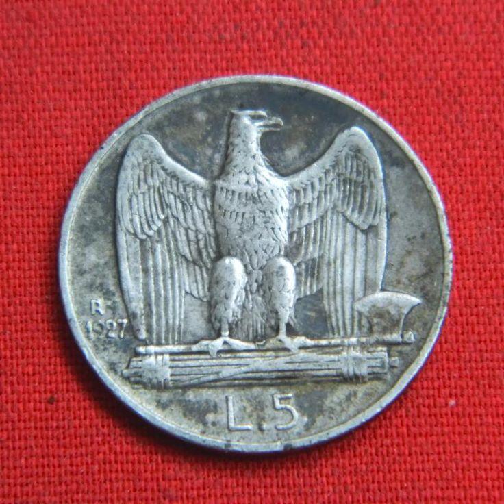 Приятные 5 лир Италия 1927 Виктор Иммануил III орел период Муссолини СЕРЕБРО Аукцион с Рубля