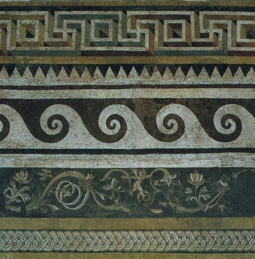 ANCIENT LANDS  Ancient Greek mosaic, 159-138 BCE  i like the idea of long vertical stripes of borders, recoloured to blues