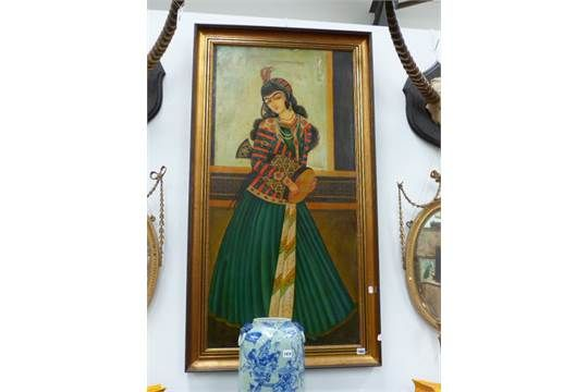 A PORTRAIT OF A PERSIAN FEMALE MUSICIAN HOLDING A DRUM. OIL ON CANVAS, 121 x 60cms