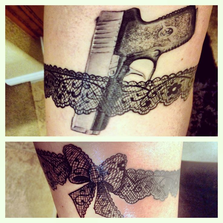 My lace garter tattoo. Pistol is on the outside of my thigh, & the bow is on the inside.