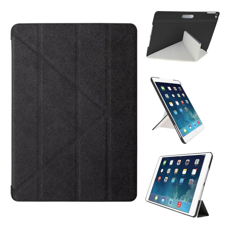 Amazon.com: iPad Air 2 Case - OZAKI O!coat Slim-Y Versatile 360° New Generation Multi Angle Smart Case For Apple iPad Air 2 / Front and Back Protection / Easy Full Access / Portrait and Landscape - Black: Cell Phones & Accessories