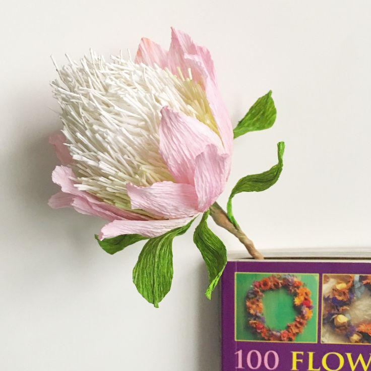 Protea flower bookmark, Paper flower decoration, Wedding bouquet flower, Floral home decoration, Australian native flowers decor by ThePaperHeartDesign on Etsy