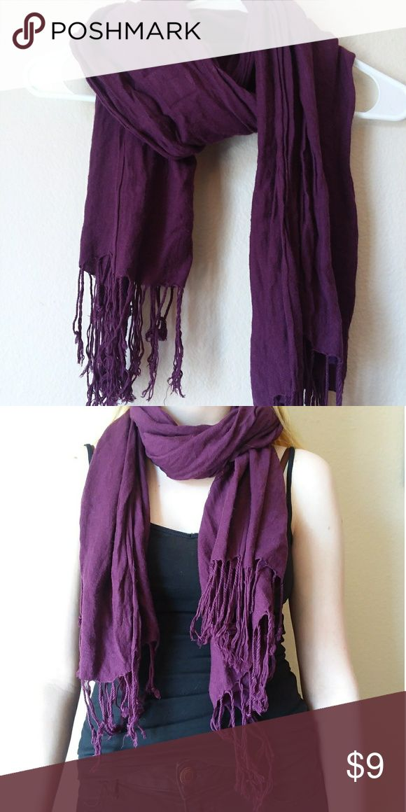 Scarf Long warm purple scarf with tassles. Super cozy! Like new. Barely worn. Accessories Scarves & Wraps