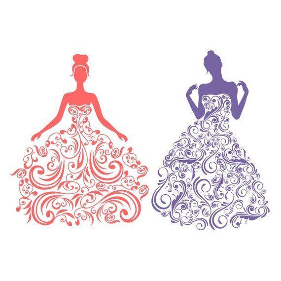 Dress Wedding Bride Floral Cuttable Design Png Dxf Svg Eps File Silhouette Designs Cameo Bride Silhouette Floral Wedding Dress Cricut Wedding