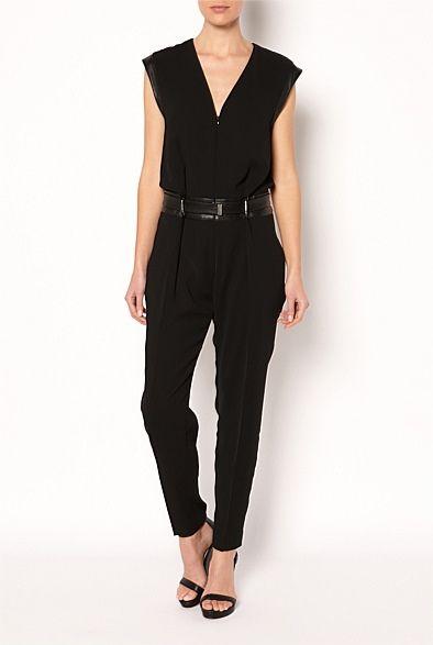 Witchery Fashions Pty Ltd-Jumpsuits - Leather Trim Jumpsuit $200